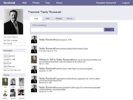 "Facebook Theodore ""Teddy"" Roosevelt WallPhotosFlairBoxesTheodore RooseveltLogout View photos of Teddy (5) Send Teddy a message Poke message Wall InfoPhotosBoxes."