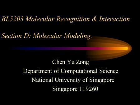 BL5203 Molecular Recognition & Interaction Section D: Molecular Modeling. Chen Yu Zong Department of Computational Science National University of Singapore.