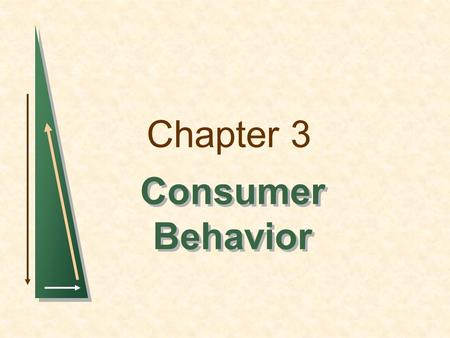 Chapter 3 Consumer Behavior. Chapter 3: Consumer BehaviorSlide 2 Consumer Behavior There are three steps involved in the study of consumer behavior. 1)