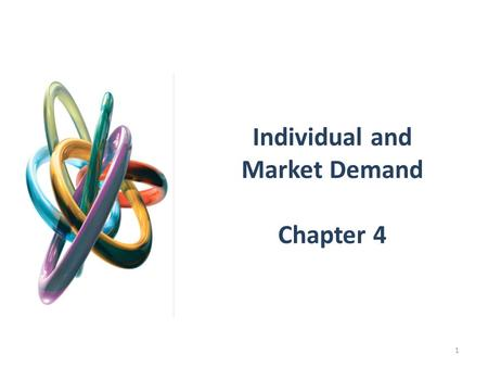 Individual and Market Demand Chapter 4 1. INDIVIDUAL DEMAND Price Changes Using the figures developed in the previous chapter, the impact of a change.
