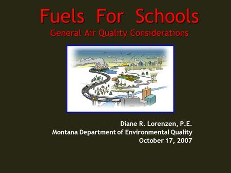Fuels For Schools General Air Quality Considerations Diane R. Lorenzen, P.E. Montana Department of Environmental Quality October 17, 2007.