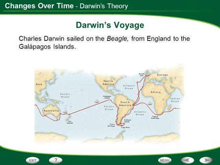 Changes Over Time - Darwin's Theory Darwin's Voyage Charles Darwin sailed on the Beagle, from England to the Galápagos Islands.