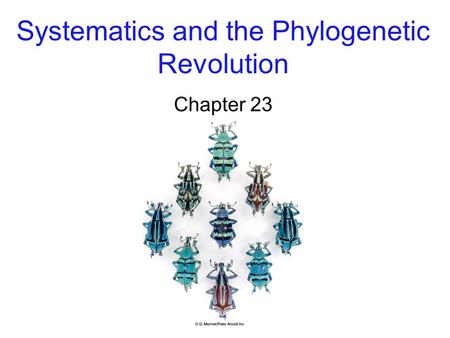 Systematics and the Phylogenetic Revolution Chapter 23.