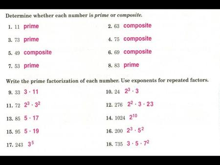 Section 4.4 Greatest Common Factor Find the GCF the set of numbers. 28 42.