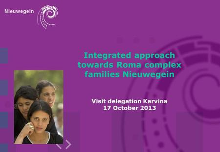 Integrated approach towards Roma complex families Nieuwegein Visit delegation Karvina 17 October 2013.