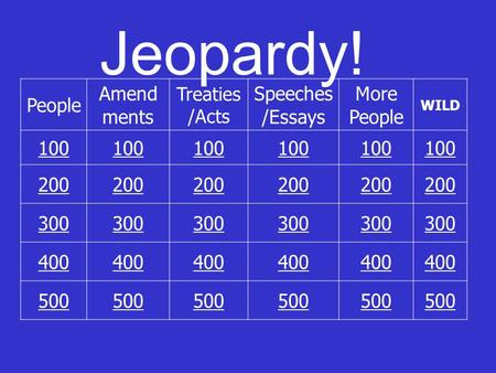 Jeopardy! People Amend ments Treaties /Acts Speeches /Essays More People WILD 100 200 300 400 500.