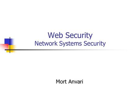 Web Security Network Systems Security