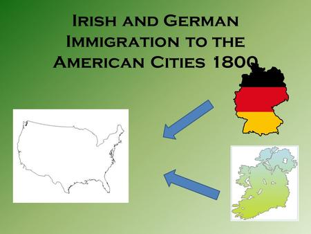 Irish and German Immigration to the American Cities 1800.