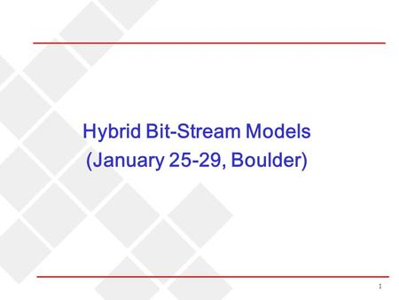1 Hybrid Bit-Stream Models (January 25-29, Boulder)