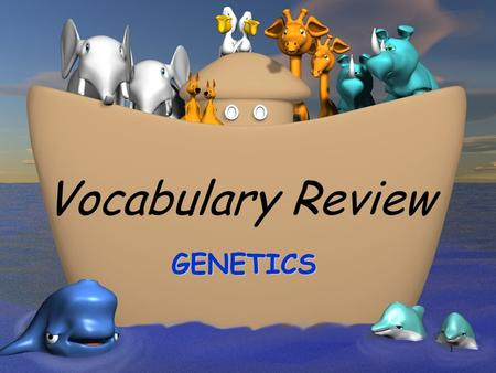 1 Vocabulary Review GENETICS. 2 Study of how characteristics are transmitted from parent to offspring GENETICS.