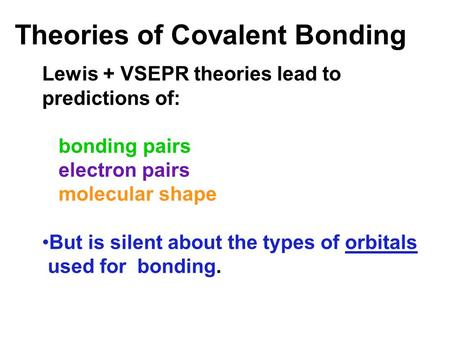 Theories of Covalent Bonding Lewis + VSEPR theories lead to predictions of: bonding pairs electron pairs molecular shape But is silent about the types.