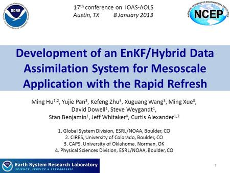 Development of an EnKF/Hybrid Data Assimilation System for Mesoscale Application with the Rapid Refresh Ming Hu 1,2, Yujie Pan 3, Kefeng Zhu 3, Xuguang.