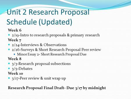 Unit 2 Research Proposal Schedule (Updated) Week 6 2/19-Intro to research proposals & primary research Week 7 2/24-Interviews & Observations 2/26-Surveys.