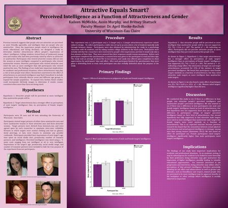 Attractive Equals Smart? Perceived Intelligence as a Function of Attractiveness and Gender Abstract Method Procedure Discussion Participants were 38 men.