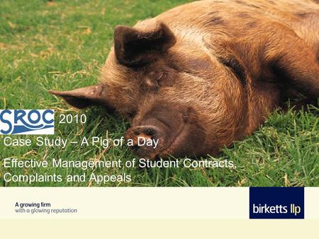 2010 Case Study – A Pig of a Day Effective Management of Student Contracts, Complaints and Appeals.