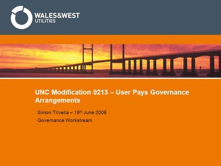 UNC Modification 0213 – User Pays Governance Arrangements Simon Trivella – 19 th June 2008 Governance Workstream.