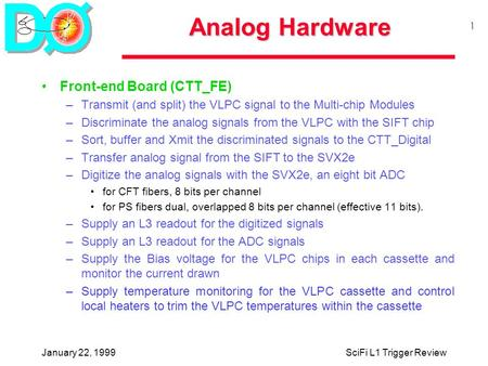 January 22, 1999SciFi L1 Trigger Review 1 Analog Hardware Front-end Board (CTT_FE) –Transmit (and split) the VLPC signal to the Multi-chip Modules –Discriminate.