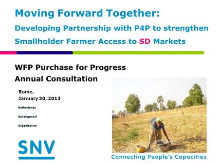 WFP Purchase for Progress Annual Consultation Rome, January 30, 2013 Moving Forward Together: Developing Partnership with P4P to strengthen Smallholder.