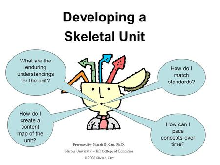 Developing a Skeletal Unit How can I pace concepts over time? How do I create a content map of the unit? Presented by Sherah B. Carr, Ph.D. Mercer University.