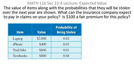 MATH 110 Sec 13-4 Lecture: Expected Value The value of items along with the probabilities that they will be stolen over the next year are shown. What can.