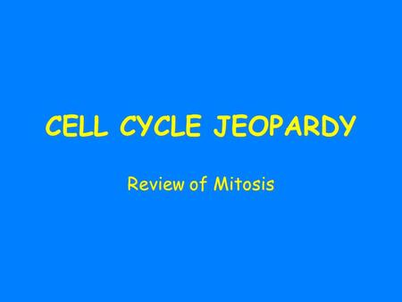 CELL CYCLE JEOPARDY Review of Mitosis. Mitosis Cell cycleGrab Bag! 100 200 300 400 500 100 200 300 400 500 100 300 200 400 500 100 200 400 300 500 FINAL.