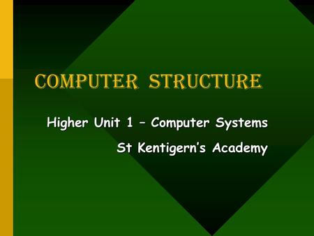 COMPUTER Structure Higher Unit 1 – Computer Systems St Kentigern's Academy.