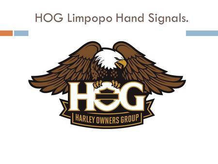 HOG Limpopo Hand Signals.. START ENGINES  Start your engines With your right or left arm extended, move your index finger in a circular motion.