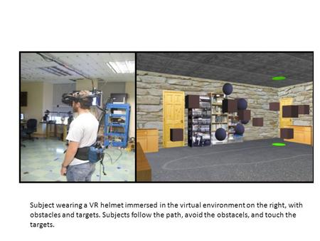 Subject wearing a VR helmet immersed in the virtual environment on the right, with obstacles and targets. Subjects follow the path, avoid the obstacels,
