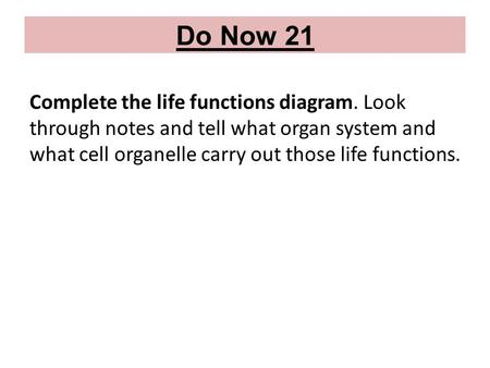 Do Now 21 Complete the life functions diagram. Look through notes and tell what organ system and what cell organelle carry out those life functions.