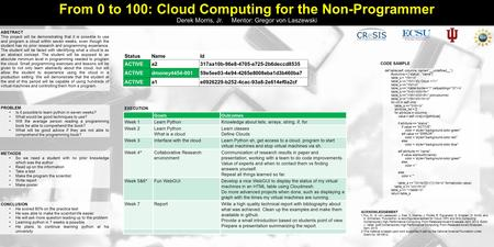 From 0 to 100: Cloud Computing for the Non-Programmer Derek Morris, Jr. Mentor: Gregor von Laszewski ABSTRACT This project will be demonstrating that it.