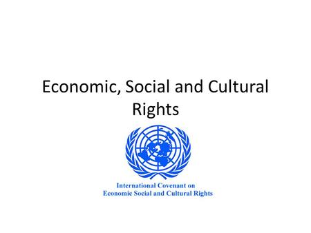 Economic, Social and Cultural Rights. concern the dignity of human beings ideas of equality and access to essential social and economic goods and opportunities.