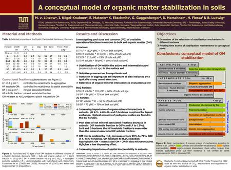 Objectives Conclusions:conceptual model of OM stabilization  Evaluation of the relevance of stabilization mechanisms in different horizons  Relating.