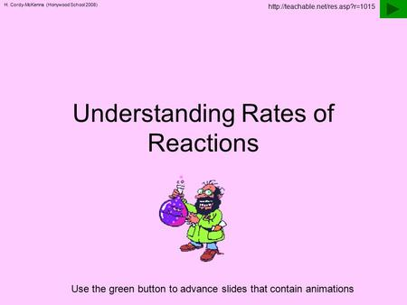 H. Cordy-McKenna (Honywood School 2008) Understanding Rates of Reactions Use the green button to advance slides that contain animations