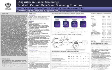 BACKGROUND: Disparities in breast cancer screening behaviors between Latin American (Latino) and non-Latino White (Anglo) women in the U.S. have increased.