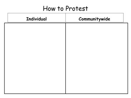 How to Protest IndividualCommunitywide. Civil Disobedience: A group's refusal to obey a law because they believe the law is immoral. A tactic used in.