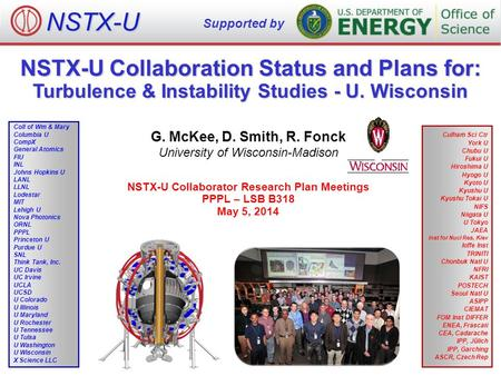 NSTX-U Collaboration Status and Plans for: Turbulence & Instability Studies - U. Wisconsin G. McKee, D. Smith, R. Fonck University of Wisconsin-Madison.