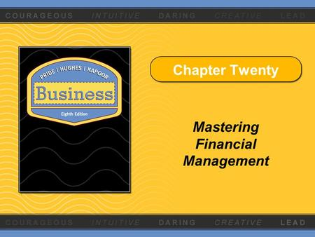 Chapter Twenty Mastering Financial Management. Copyright © Houghton Mifflin Company. All rights reserved.20 - 2 Learning Objectives 1.Explain the need.