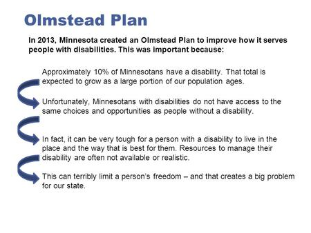 Olmstead Plan In 2013, Minnesota created an Olmstead Plan to improve how it serves people with disabilities. This was important because: Approximately.