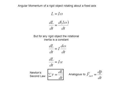 Angular Momentum of a rigid object rotating about a fixed axis But for any rigid object the rotational inertia is a constant Newton's Second Law Analogous.