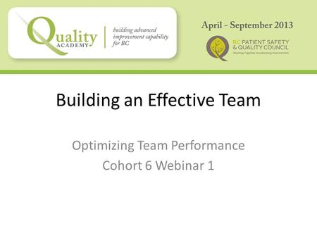 Building an Effective Team Optimizing Team Performance Cohort 6 Webinar 1.