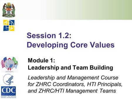 Session 1.2: Developing Core Values