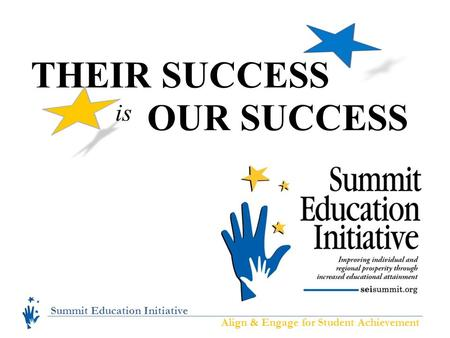 Summit Education Initiative Align & Engage for Student Achievement THEIR SUCCESS OUR SUCCESS is.