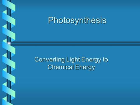 Photosynthesis Converting Light Energy to Chemical Energy.