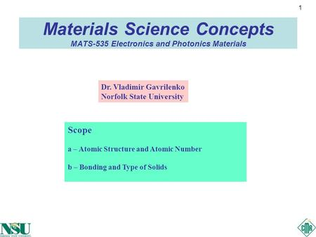 1 Materials Science Concepts MATS-535 Electronics and Photonics Materials Scope a – Atomic Structure and Atomic Number b – Bonding and Type of Solids Dr.