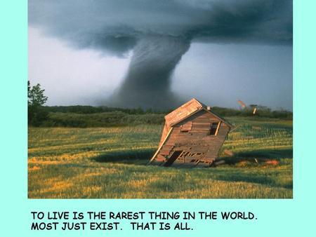TO LIVE IS THE RAREST THING IN THE WORLD. MOST JUST EXIST. THAT IS ALL.