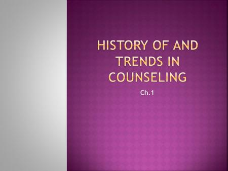 Ch.1.  Counseling psychology  The application of mental health, psychological or human development principles, through cognitive, affective, behavioral.