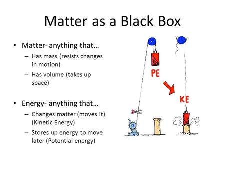 Matter as a Black Box Matter- anything that… – Has mass (resists changes in motion) – Has volume (takes up space) Energy- anything that… – Changes matter.