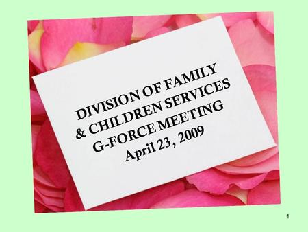 1 DIVISION OF FAMILY & CHILDREN SERVICES G-FORCE MEETING April 23, 2009.