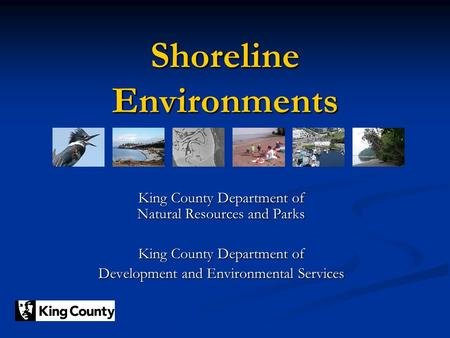 Shoreline Environments King County Department of Natural Resources and Parks King County Department of Development and Environmental Services.