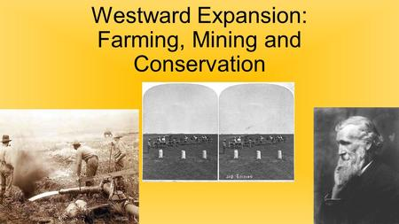 Westward Expansion: Farming, Mining and Conservation.